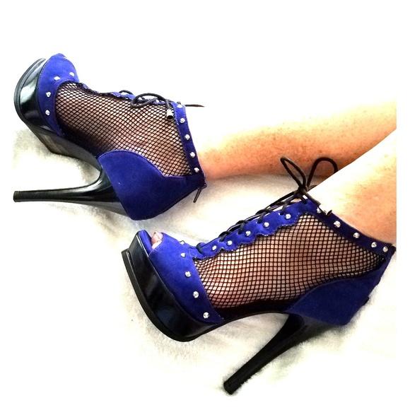 000b6cdefacf VEGAN SEXY Peep Toe Fishnet Lace Up Platform Heels.  M 5b6b8e84c89e1de8b6b50247. Other Shoes you may like. Sexy Qupid Black Suede  ...